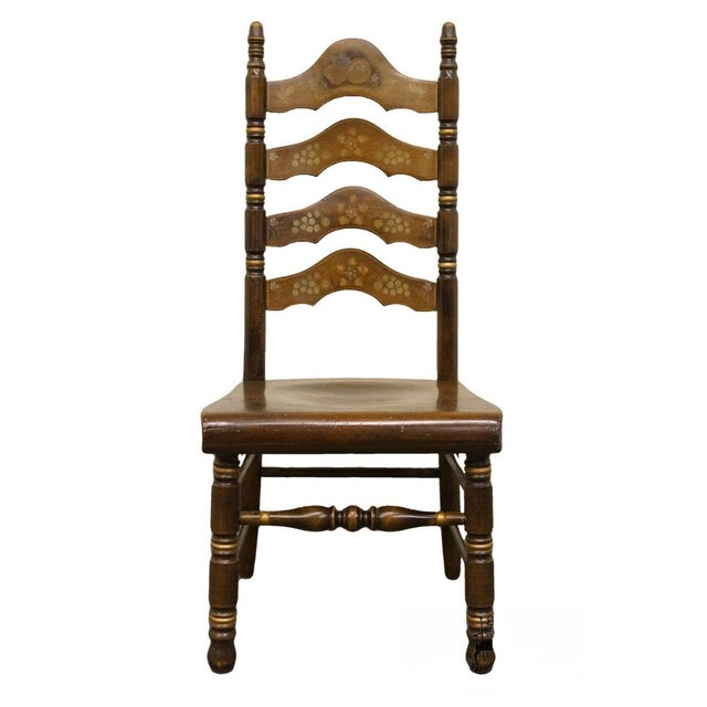 20th Century Traditional Ethan Allen Old Tavern Pine Ladder Back Dining Chair For Sale - Image 9 of 9