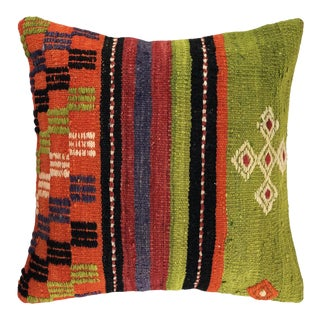"Lively Lime Vintage Kilim Pillow 16"" For Sale"