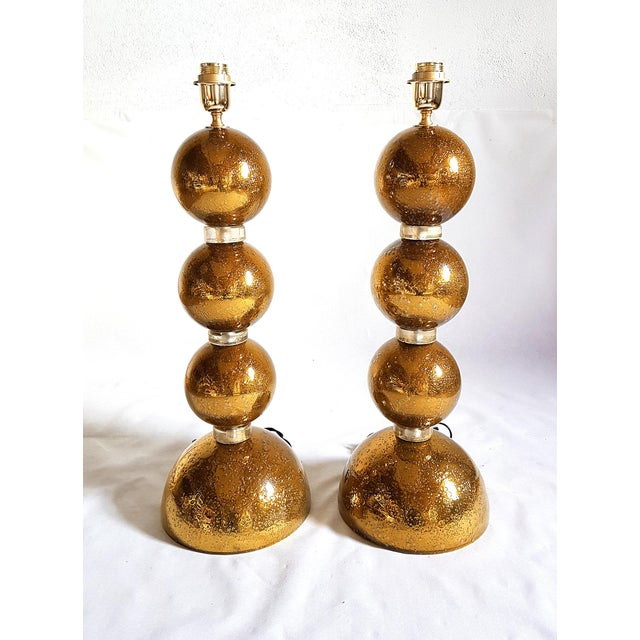 1970s Large Gold Murano Glass Table Lamps - a Pair For Sale In Boston - Image 6 of 6