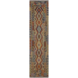 Tribal Kilim Logan Blue Hand-Woven Wool Runner-2′9″ × 9′11″ For Sale