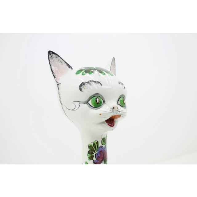 Mid-Century Modern Beautiful Ceramic Cat, Italy, 1970s For Sale - Image 3 of 10