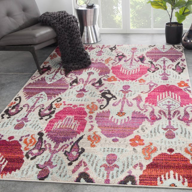 2010s Jaipur Living Lavendula Ikat Pink Area Rug - 7′10″ × 9′10″ For Sale - Image 5 of 6
