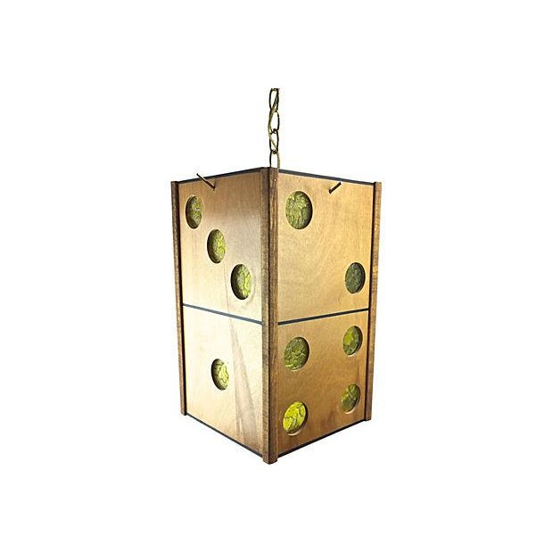 Midcentury Wood Dice Pendant Light - Image 1 of 4