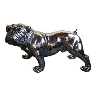 Life Size Chrome English Bull Dog Figure For Sale