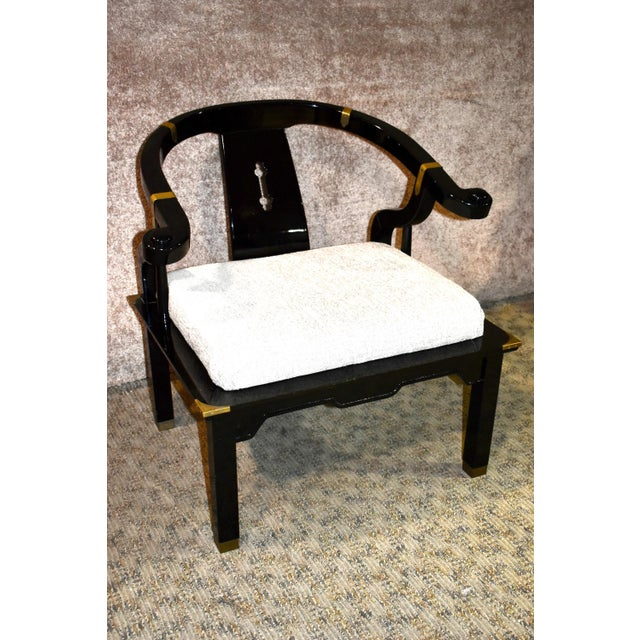 Accent Chair has an Asian Style. The Brand is Pallavisini. Made in Italy. Black lacquer finish. The finish has signs of...