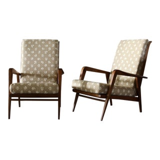 Mid-Century Oak Reclining Chairs - a Pair For Sale