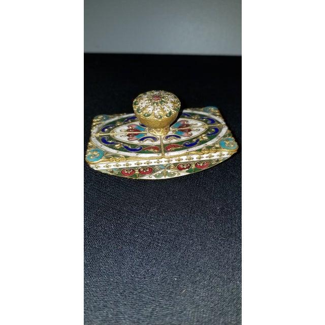 Gold Vintage Cloisonne Ink Blotter For Sale - Image 8 of 8