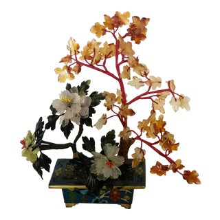 Mid 20th Century Vintage Flowering Jade Tree in Cloisonné Planter For Sale