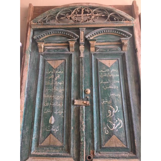 Antique Green Egyptian Double Doors For Sale In Atlanta - Image 6 of 6 - Antique Green Egyptian Double Doors Chairish