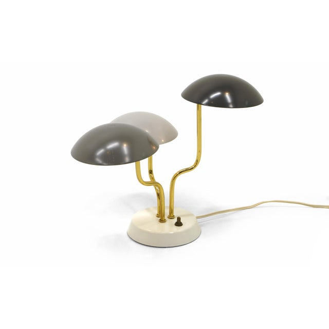 A stunning, small, Gino Sarfatti for Arteluce table lamp with curved brass rods rising from an ivory enameled base with...