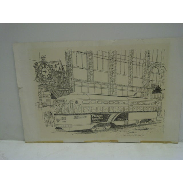 """This is a Pittsburgh """"PAT Transit"""" Cable Car -- Signed Print -- By Nevin Robinson"""