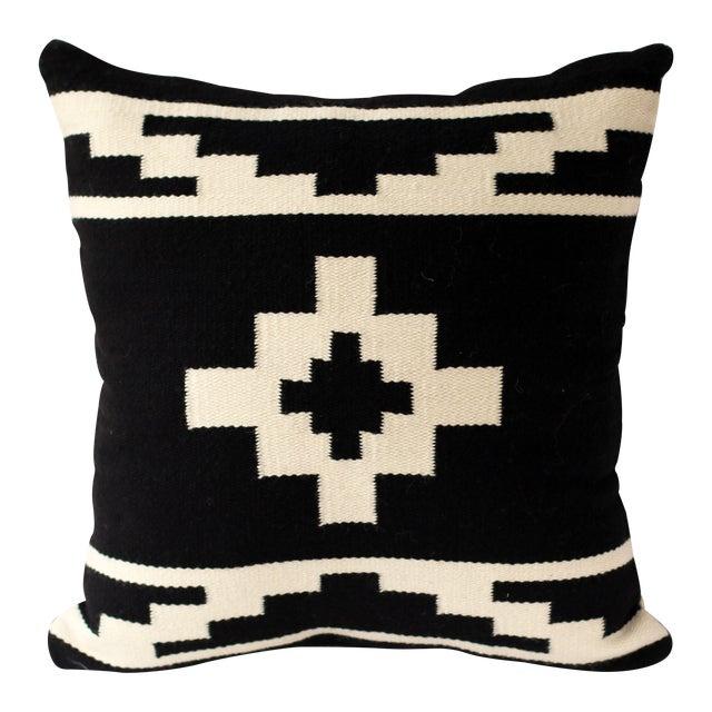 Reversible Peruvian Black & White Wool Pillow Case - Image 1 of 5