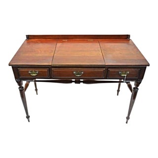 Monitor Furniture Cherry Chippendale Poudre Table Dresser Antique Desk
