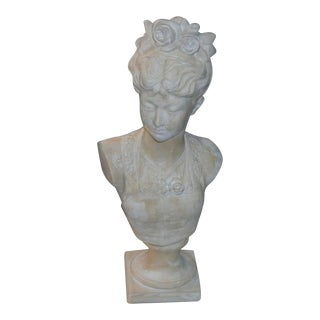 1990s Vintage Victorian Woman Bust Statue For Sale