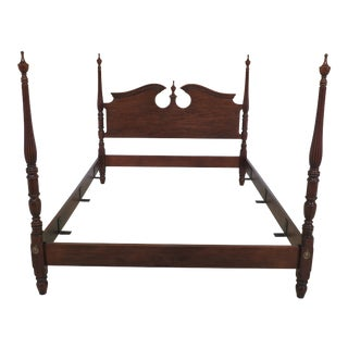 1990s Traditional Drexel Queen Size Cherry Poster Bed For Sale