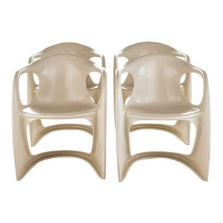 "1970s Vintage Beige Alexander Begge for Casala ""Casalino"" Chairs- Set of 4 For Sale"