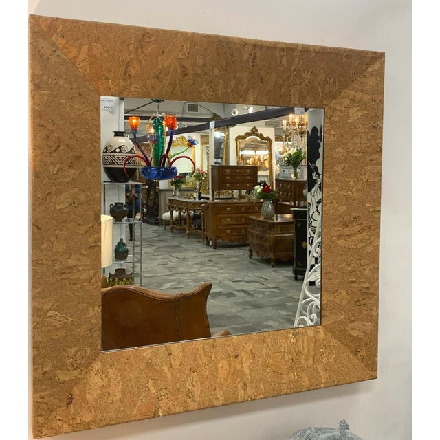 Mid-Century Modern square cork mirror, sublime design deep beveled edge with inset 25-inch square mirror