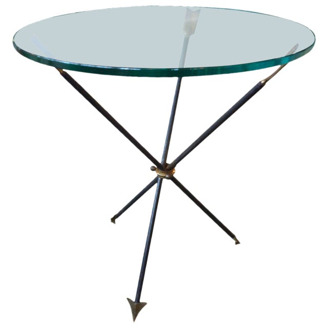 1960s Mid Century Modern Iron and Bronze Arrow Base Side Table For Sale