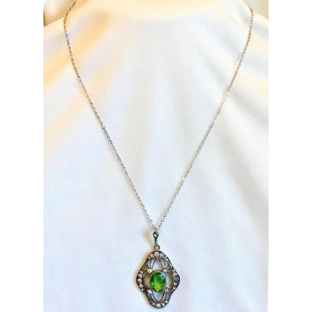 Green 1910s Antique 800 Silver and Peridot Paste Lavaliere Pendant Necklace For Sale - Image 8 of 8