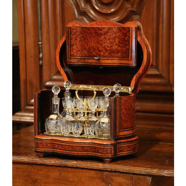 Important 19th Century French Napoleon III Walnut & Burl Cave a Liqueur Tantalus For Sale - Image 11 of 11