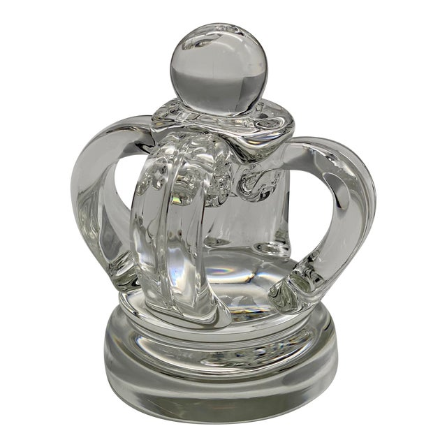 Vintage Steuben Glass Lloyd Atkins Decorative Crystal Crown For Sale