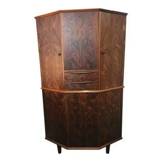 1960s Rosewood Corner Bar Cabinet For Sale