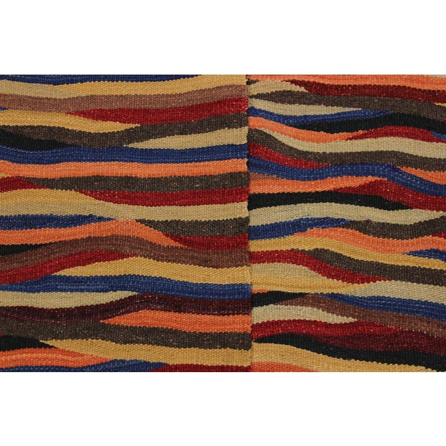 Textile Abstract Expressionism Candis Hand-Woven Kilim Wool Rug - 8′4″ × 9′9″ For Sale - Image 7 of 8