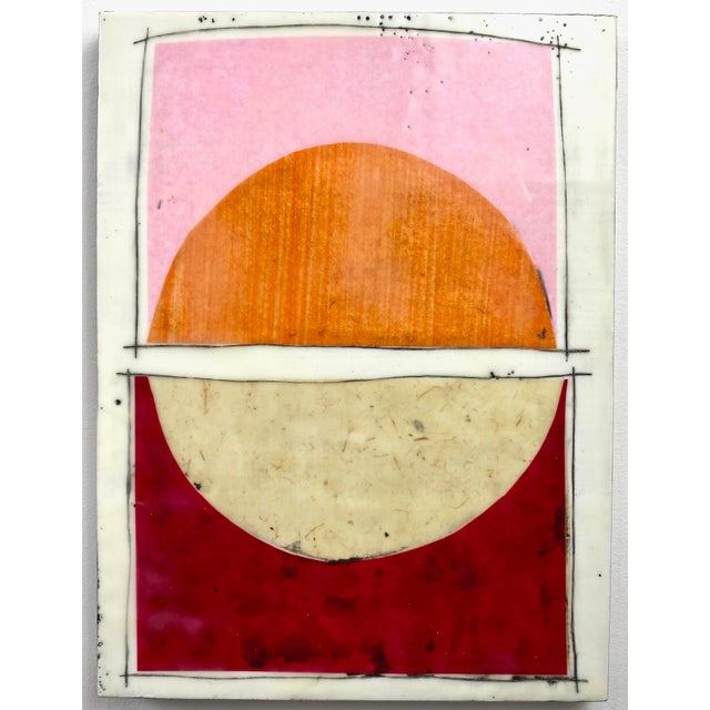 "Pink ""Tickled"" Encaustic Collage Painting - 9 Piece Installation by Gina Cochran - Pink & Orange For Sale - Image 8 of 13"