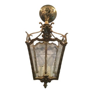 Antiqued Brass Lantern-Style Chandelier For Sale
