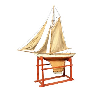 19th Century Nautical Tin Pond Sailboat on Stand For Sale
