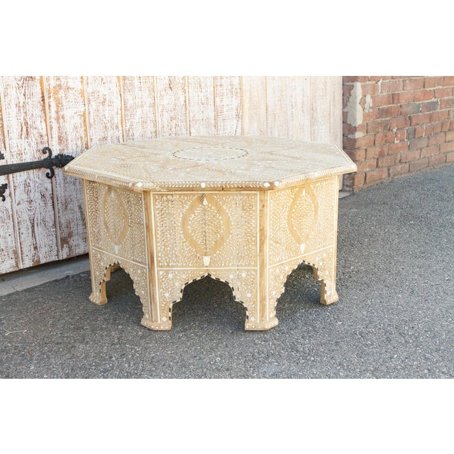 Charming Anglo Indian Farmhouse Lotus Inlaid Coffee Table For Sale - Image 10 of 13