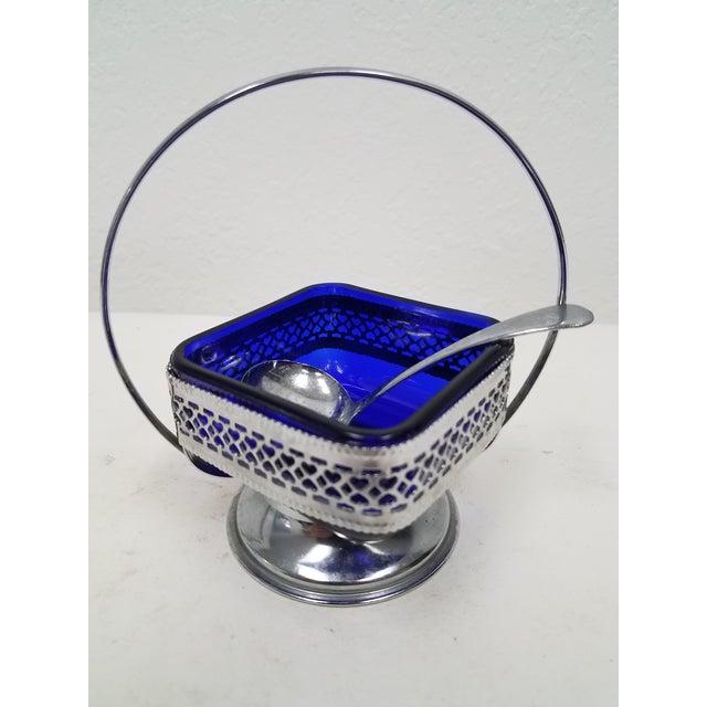 Antique English Cobalt Blue Silver Plate Condiment Server For Sale - Image 9 of 9