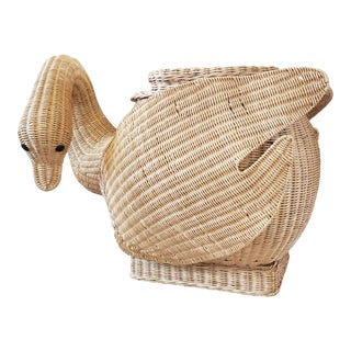 Vintage Wicker Swan Table/Stool For Sale