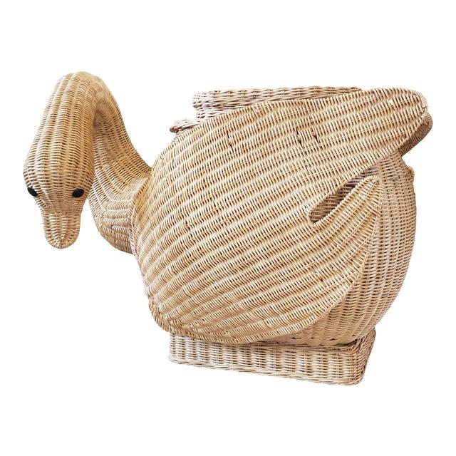 Vintage Wicker Swan Table/Stool For Sale