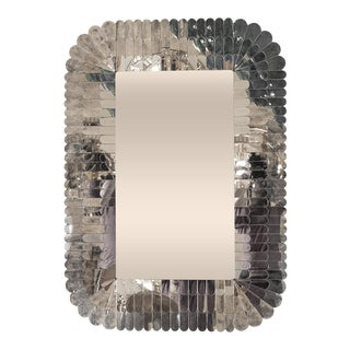 Layered Scalloped Frame Rounded Rectangular Mirror For Sale