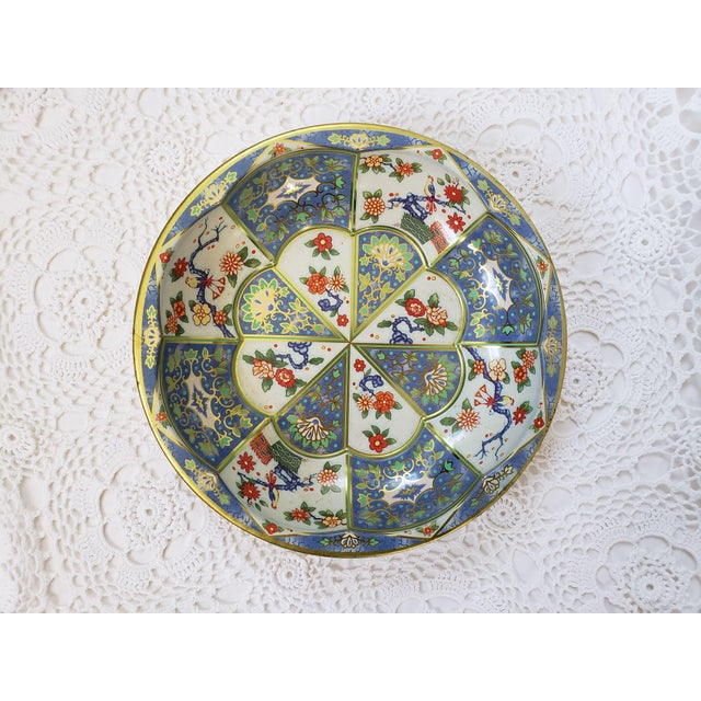 Blue 1970s Blue & White Oriental Floral Tin Bowl by Daher For Sale - Image 8 of 9