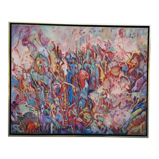 70's Multi Colored Expressionist Abstract Painting For Sale