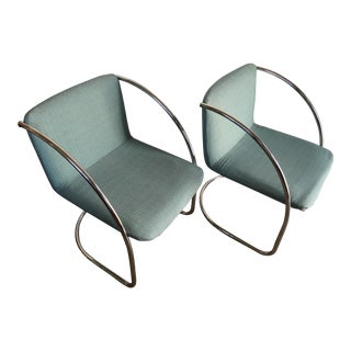 Vintage Mid Century Modern Saporiti Italia Lens Chairs - A Pair
