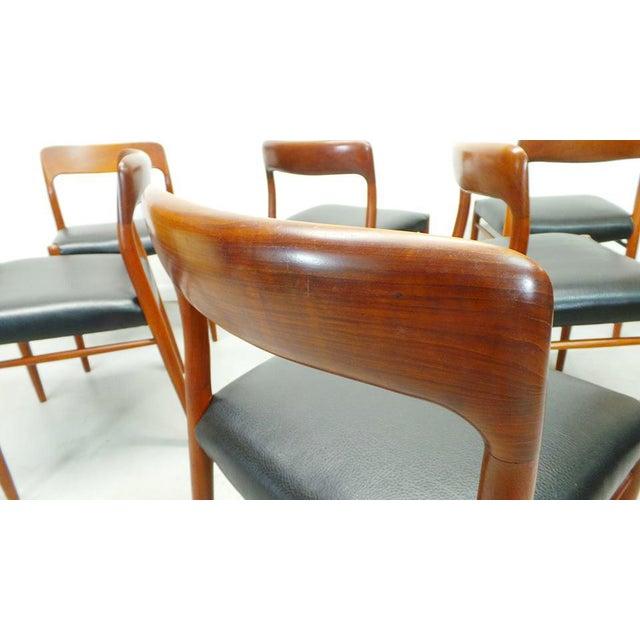 Leatherette 1960s Vintage J.L. Moller Danish Modern Black Dining Chairs- Set of 6 For Sale - Image 7 of 9