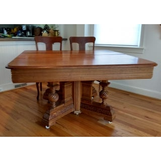 19th Century Victorian Square Oak Table With Carved Base and 6 Chairs - 7 Pieces Preview