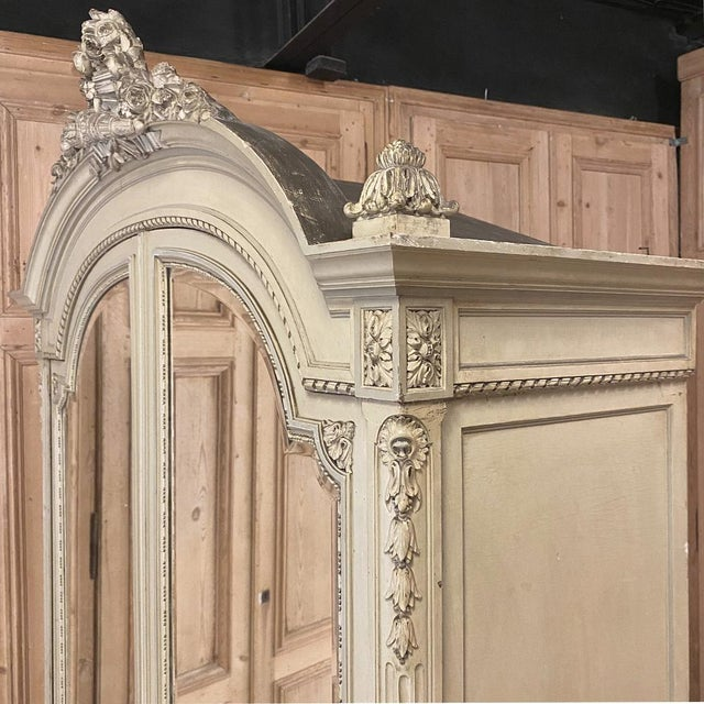 Wood 19th Century French Louis XVI Painted Armoire For Sale - Image 7 of 13
