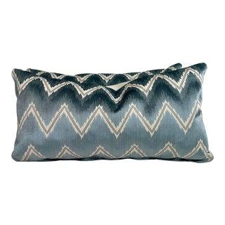 "Schumacher ""Chevron Velvet"" in Mineral 12""x22"" Pillows-A Pair For Sale"
