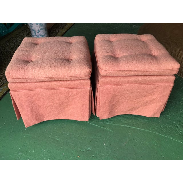 Vintage Pink Tufted Skirted Upholstered Ottomans-A Pair For Sale - Image 11 of 11