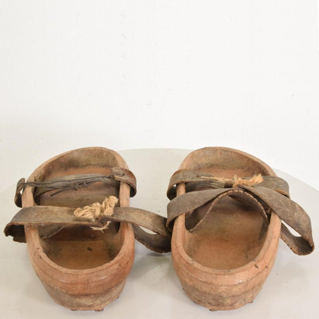 Brown Antique Japanese Decorative Wood Gardening Shoes - a Pair For Sale - Image 8 of 8