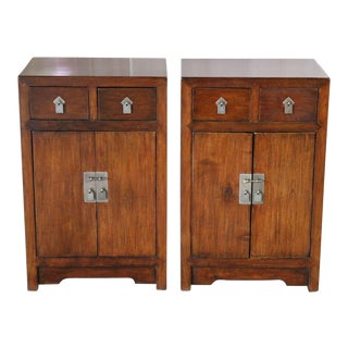 Chinese Walnut Bedside Cabinets - a Pair For Sale