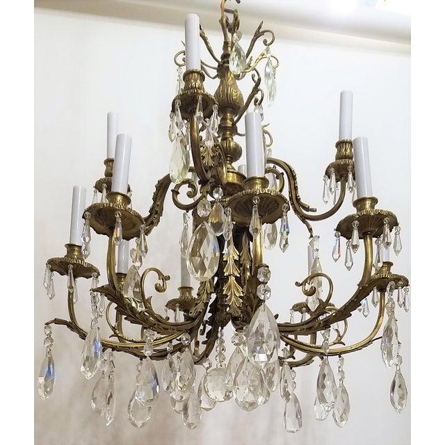 1920s Louis XVI Bronze & Crystal 12 Lights Chandelier For Sale - Image 10 of 10