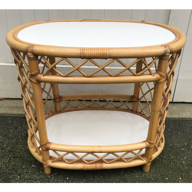 Mid 20th Century WIllow and Reed Oval Bamboo Side Table For Sale - Image 5 of 13