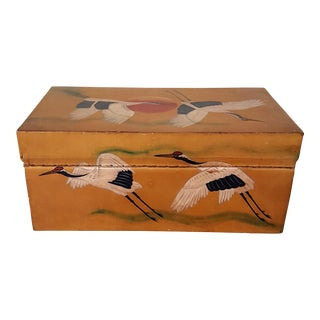 Japanese Hand Painted Leather Box with Red Cap Cranes For Sale