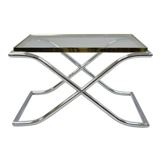 1970s Hollywood Regency Chrome Brass and Glass X-Frame Small Coffee/Side Table For Sale