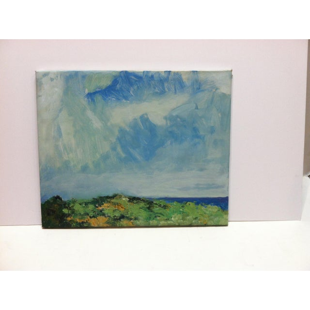 "Canvas 1960s Vintage Frederick McDuff ""Blue Sky"" Signed Painting on Canvas For Sale - Image 7 of 7"